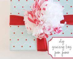 Clever reuse of Target grocery bag for your pompom gift topper @designsponge
