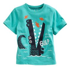 Jumping Beans at Kohl's - Shop our wide selection of boys' clothes, including this Jumping Beans Alligator Tee, at Kohl's. Kids Graphics, Kids Prints, Boys T Shirts, Cool Tees, Kids Wear, Crocodile, Boy Fashion, Boy Outfits, Shirt Designs
