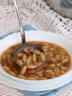Pasta Recipes, Soup Recipes, Cooking Recipes, Healthy Recipes, Tuscan Bean Soup, Colored Pasta, Lunch Specials, Stuffed Hot Peppers, Italian Recipes