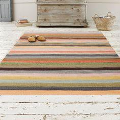 Large Striped Herringbone Rug | Tuppence Tuppence - Floor Rugs | Loaf