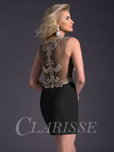 Gorgeous sleeveless LBD by Clarisse with sparkly bodice and sheer illusion cutouts on sides and back! Perfect for Homecoming. Style 2671. Available in Ivory/Gold and Black/Gold. Pick yours up today! http://www.clarisse.us/locator/index.php