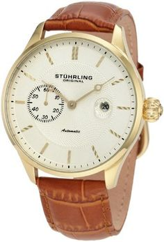 Stuhrling Original Men's 148B.3335K31 Classic Heritage Automatic Mechanical Date Gold Tone Watch Stuhrling Original. $194.00. Water-resistant to 50 M (165 feet). Polished outer dial with goldtone individually applied markers and outer chapter ring. Round shaped 16k rosegold plated stainless steel case with protective krysterna crystal on front and back. Goldtone textured inner dial with seconds subdial and date window. Light brown alligator embossed genuine leather strap with ...