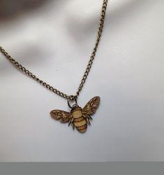 fabulous laser cut birchwood 'Bee' necklace