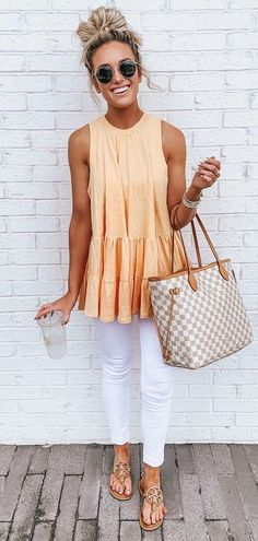 orange sleeveless top #summer #outfits