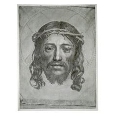 Claude Mellan, The Sudarium, or Veil of St Veronica, an engraving  France, AD 1649 Christ's face engraved in a single spiral line