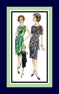 Vintage 1960s- Sexy & Glamorous-Evening-Cocktail Dress-Vogue Sewing Pattern-Three Tempting Styles- Beautifully Draped-Size 16-Rare by FarfallaDesignStudio on Etsy