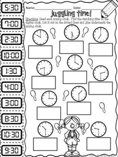 TELLING TIME NO PREP! -  hour and half-hour 5 minute increments 1 minute increments Thomas' Teachable Moments