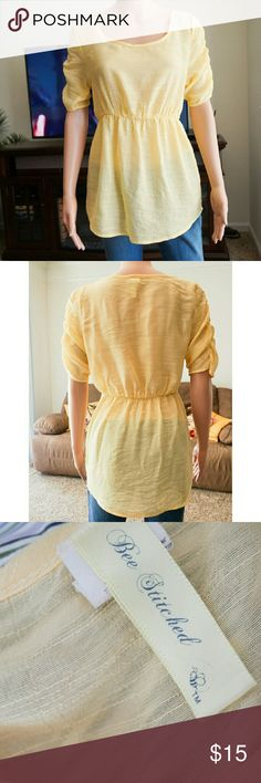 Cutesy Yellow Blouse 70% rayon; 30% polyester. Medium. Same day shipping. 20% bundle discount for 3. Reasonable offers accepted. Bee Stiched Tops Blouses