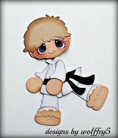 KARATE BOY paper piecing premade scrapbook page die cut layout Paper Piecing, Karate Boy, Jump Animation, Die Cut, Scrapbook Embellishments, Treasure Boxes, Punch Art, Box Design, Cute Cartoon