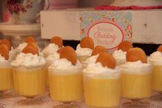 Banana Pudding Parfaits at a Shabby Chic Party #shabbychic #partyfood