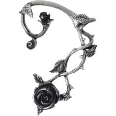 The Black Rose Ear Wrap by Alchemy Gothic features a polished pewter twine of wild roses wrapping around the ear, with black resin rose at the foot. For normal piercing, it has a surgical steel ear-post.