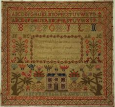 Mid 19th century scottish house, verse & motif sampler by jane freebairn - 1851