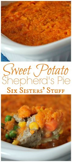 Sweet Potato Shepherd's Pie from Sixsistersstuff.com - Perfect if you are trying to eat healthier!