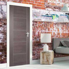 Laminate Vancouver Light Grey Door is Hour Fire Rated and Prefinished - Lifestyle Image. Grey Internal Doors, Grey Doors, Oak Doors, Contemporary Interior Design, Modern Interior, Contemporary Doors, Modern Door, Interior Doors, Fire Rated Doors