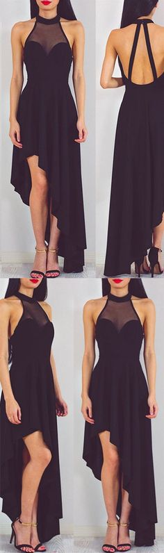 2017 prom dress, black prom dress, high low prom dress, fashion prom dress
