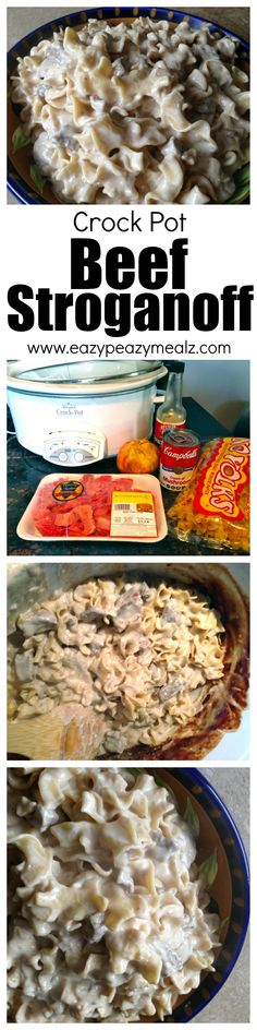 Fast, easy to make, beef stroganoff, that is family friendly and cooked in the Slow Cooker or Crock Pot! via Eazy Peazy Mealz Crock Pot Food, Crockpot Dishes, Crock Pot Slow Cooker, Slow Cooker Recipes, Beef Recipes, Cooking Recipes, Recipies, Crock Pots, Slow Cooking