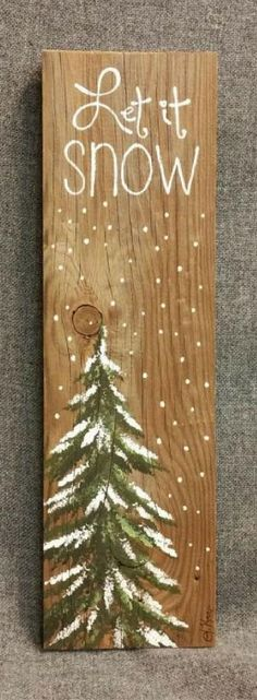 Let it Snow, Hand painted Christmas decorations, winter greenery, Winter Reclaimed Wood Pallet Art, Pine tree, Christmas, Rustic Christmas decor, Rustic Christmas sign, Rustic decor #affiliate by bobbi