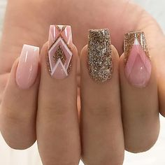 18 Trending Nail Designs That You Will Love - Best Nail Art Pink Gold Silver Glitter Geometric Manicure - French tip - Square shaped long nails - cute summer fall spring fingernails - gel nails - shellac - Gorgeous Nails, Love Nails, How To Do Nails, Best Nails, Gorgeous Makeup, Nagellack Trends, Best Nail Art Designs, Square Nail Designs, Long Nails