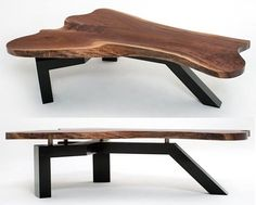 "Live Edge Slab Coffee Table with Contemporary Base - Black Walnut Slab Shown - Item #CT03136 - 50"", 60"" & 70""L Available"