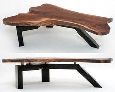 Live Edge Slab Coffee Table with Contemporary Base - Black Walnut Slab Shown…