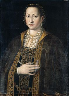 'Portrait Of Eleanora Of Toledo (1522-1562), Grand Duchess Of Tuscany, Half Length, In A Richly Embroidered And Bejewelled Dress' by the studio of Italian Mannerist painter Agnolo Bronzino (1503-1572). Oil on Canvas. via Wikigallery