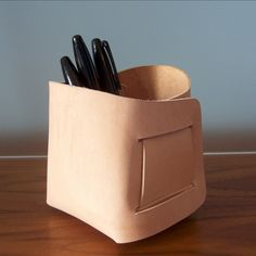 Medium - Leather Bin. $25.00, via Etsy.