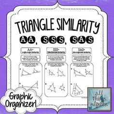 FREEBIE!  Triangle Similarity {AA~, SSS~, and SAS~} - Graphic Organizer