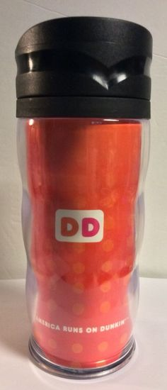 Dunkin Donuts Logo Orange And Pink Tall Travel Mug Acrylic Tumbler Polka Dots #DunkinDonuts