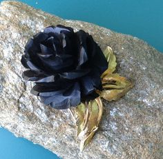Boucher Rose Brooch black carved wood FREE by PassingTides on Etsy