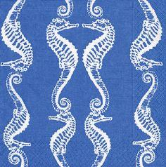 Caspari Seahorses Blue Printed 3-Ply Paper Luncheon Napkins Wholesale 11890L