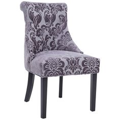 Madison Gray Fan Damask Fabric Dining Chair - Style # 11N79