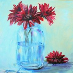 With this step-by-step video you'll learn how to paint Gerber Daisies in a Mason Jar. by mandy Toddlers, Learning, Arts And Crafts, Painting, Ideas, Studying, Craft Items, Art And Craft, Education