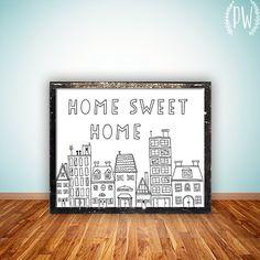 Quote wall Art Printable Home Sweet Home Print door PrintableWisdom, $5.00