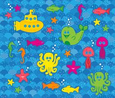 Silly Sea Creature Quilt fabric by robyriker on Spoonflower - custom fabric