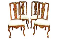 """Antique Chinoiserie Queen Anne-Style Chairs, S/4   One Kings Lane   Set of four red-and-gold hand painted chinoiserie Queen Anne-style side chairs, solid and comfortable for daily use. Newly upholstered with muslin. Wooden feet pads for easy sliding   21""""w x 21""""d x 43""""h each   2,625.00 USD"""