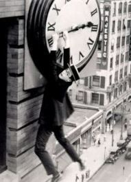 "Animation re-enactment of the clock stunt in SAFETY LAST.  Harold Lloyd: possibly my biggest silent screen star crush.  I have it so bad for Harold Lloyd that I named my car Harold, just so I had a valid reason to say ""Harold"" out loud on a regular basis."