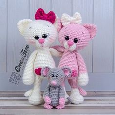 Combo Pack - Kissie the Kitty and Skip the Little Mouse Lovey and Amigurumi Set - Dutch Version - for Dollars - PDF Crochet Pattern Chat Crochet, Crochet Amigurumi, Amigurumi Toys, Crochet Dolls, Free Crochet, Crochet Patterns Amigurumi, Crochet Cat Pattern, Crochet Animals, Stuffed Toys Patterns