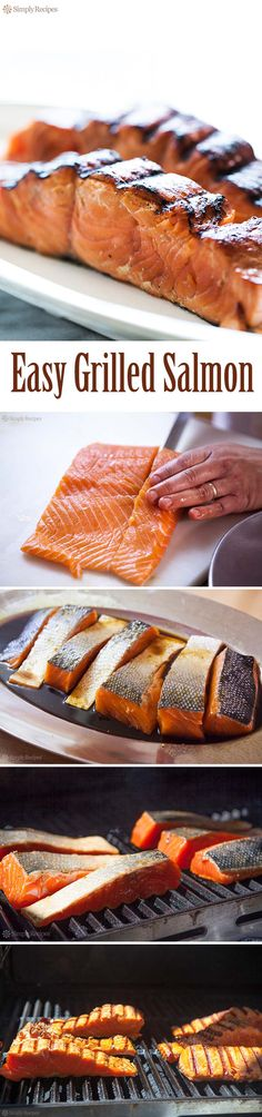 Grilling salmon is easy-- Recipe includes 4 great marinades Grilling Recipes, Fish Recipes, Seafood Recipes, Cooking Recipes, Healthy Recipes, Vegan Grilling, Simply Recipes, Great Recipes, Dinner Recipes