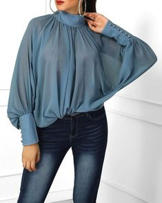 Lantern Sleeve Wide Cuff Ruched Blouse Solid Lantern Sleeve Scrunched Blouse fashion dresses pictures summer outfits style dress for girl,work dresses outfit ideas,party dresses Trend Fashion, Fashion Models, Womens Fashion, Fashion Tips, Ladies Fashion, Winter Fashion, Work Fashion, Style Fashion, High Fashion