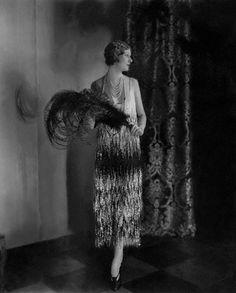 Model Alden Gay wearing a striking Chanel evening dress. vintage #fashion  1920s  designer