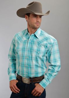 "Mens Cowboy Shirt - ""Pine Bluffs"" - From Stetson: This classic, ombre plaid cowboy shirt with a satin stitch weave has a 1-point ultra-deep, curved back yoke, contrast inside trim and classic logo snap front."