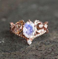 Vintage Moonstone Engagement Ring in 14k or 18K Solid Gold