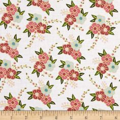 Riley Blake Wonderland Sparkle Floral White from @fabricdotcom  Designed by Melissa Mortenson for Riley Blake, this cotton print is perfect for quilting, apparel and home decor accents. Colors include shades of pink, blue, green and white with gold metallic accents.