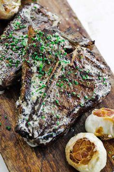 t-bone-2 Herb Butter, Lemon Butter, Salted Baked Potato, Grilled T Bone Steak, T Bone Steak Marinade, Steak Recipes, Polenta Recipes, Grilled Recipes, Smoker Recipes