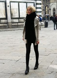 Black and Nude. Love the Black legs, black booties.
