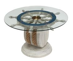 Wood And Glass Blue Ship Wheel Table