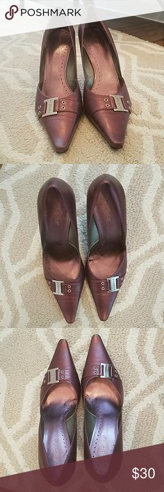 "BCBG Metallic Purple 8.5 BCBG metallic purple pumps. Leather upper, slim fit with pointy toe, 4"" heel. BCBGirls Shoes Heels"