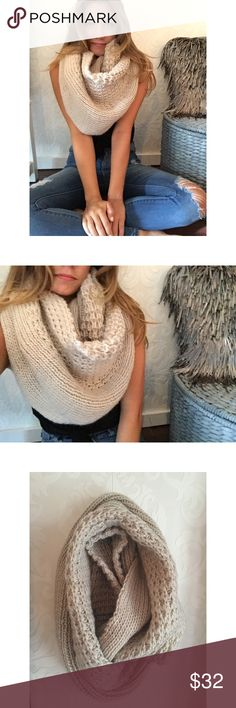 {{New}} Oversized knit scarf My new fall o.b.s.e.s.s.i.o.n. Gorgeous in color && texture this taupe colored infinity scarf is my absolute new favorite accessory. It has a beautiful knit pattern && is oversized making it trendy and cozy Wear it wrapped up or long, every girl should own one of these amazing scarves!!!   •Taupe color •100% Polyester  •OS/Price is firm Accessories Scarves & Wraps