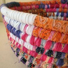 Fiesta Fabric Coiled Basket  Pink Purple Orange by mamacateyes