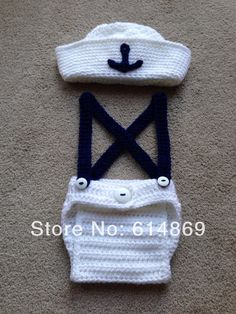 free shipping,NEWBORN SAILOR OUTFIT suspender trousers AND HAT CROCHETED IN WHITE AND NAVY NB-6M(China (Mainland))